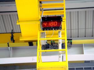 dispositif de pesage HF 87-3 installé sur un pont roulant de 20 Tonnes