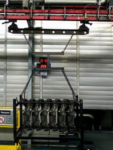 Pesage de chariots mobiles sur une chaine de production